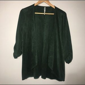 NY Collection Faux Suede Asymmetrical Cardigan